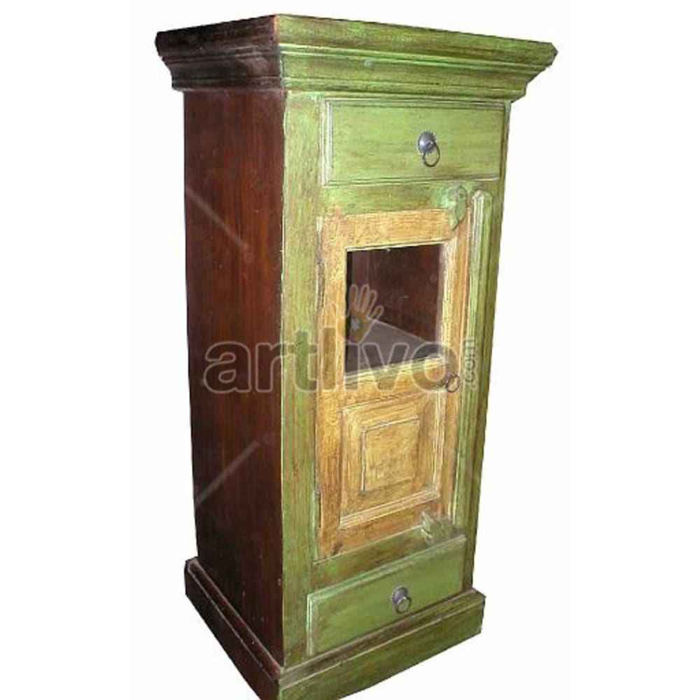 Old Indian Engraved stately Solid Wooden Teak Almirah