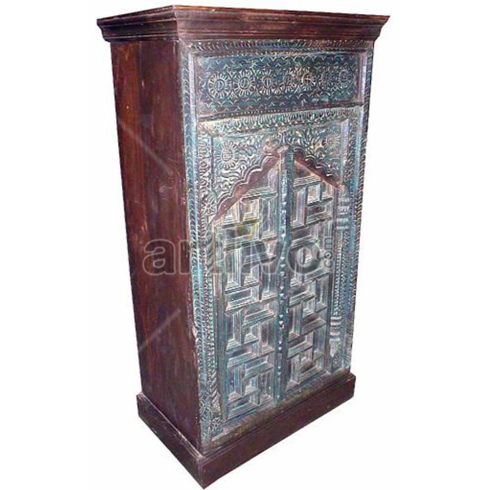 Old Indian Sculpted Supreme Solid Wooden Teak Almirah