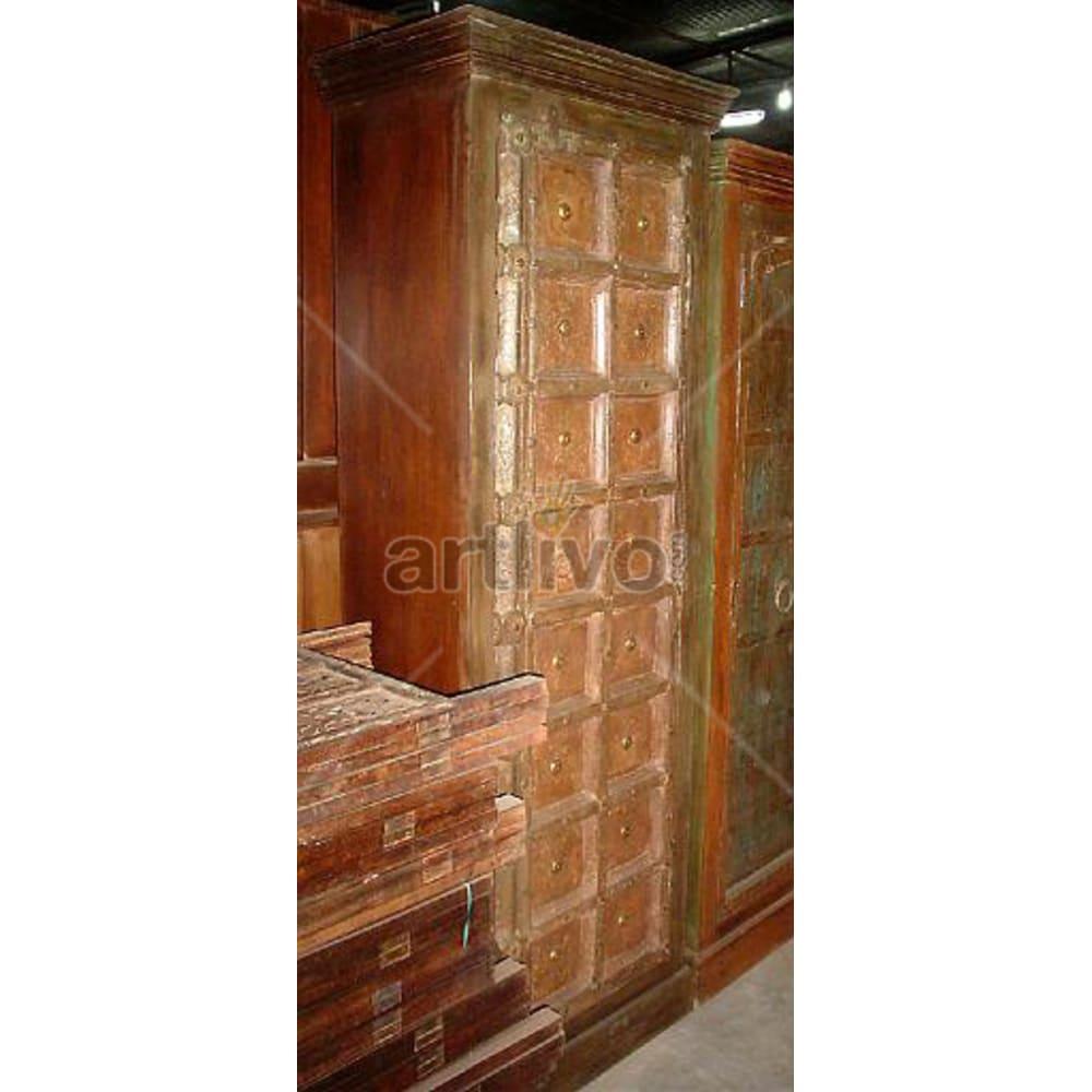 Old Indian Sculptured Plush Solid Wooden Teak Almirah