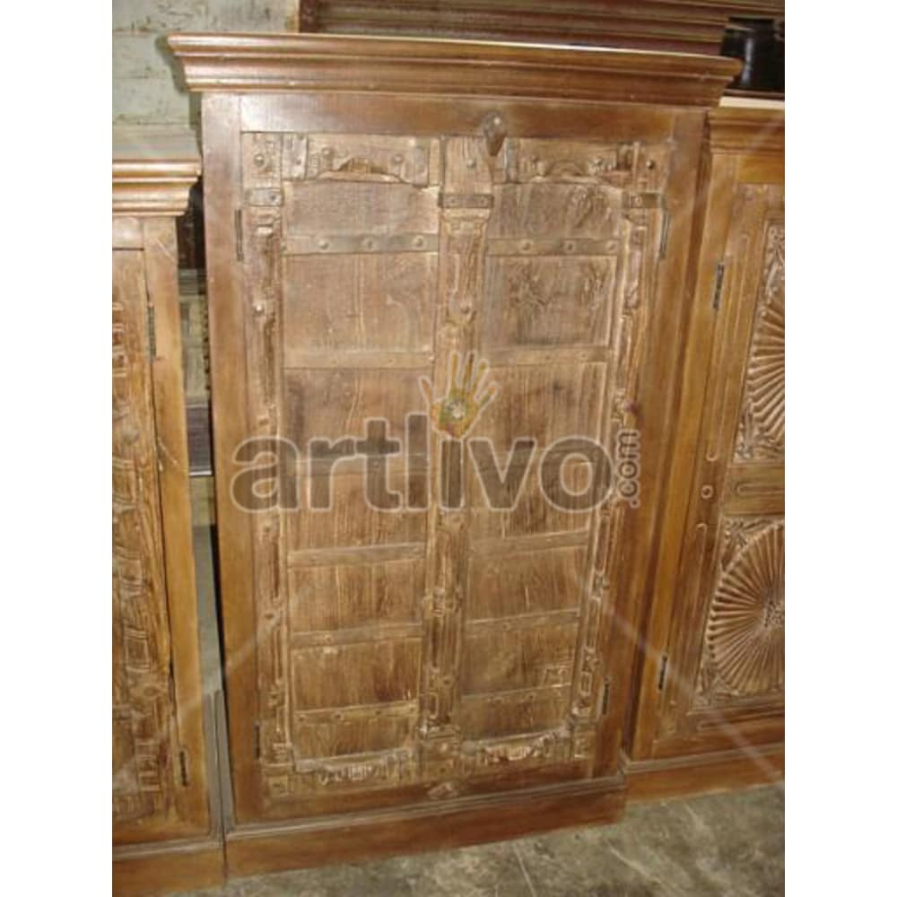 Old Indian Brown stately Solid Wooden Teak Almirah