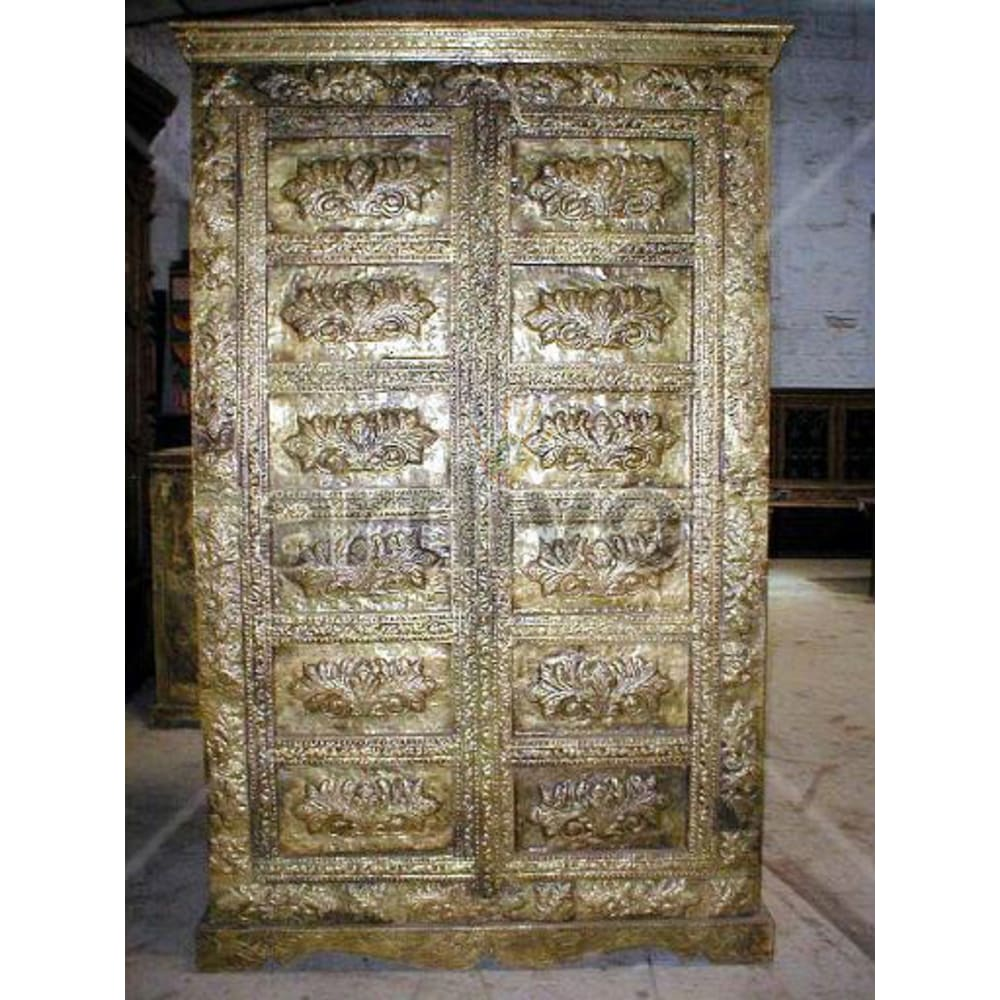 Restored Carved Extravagant Solid Wooden Teak Almirah with heavy brass work