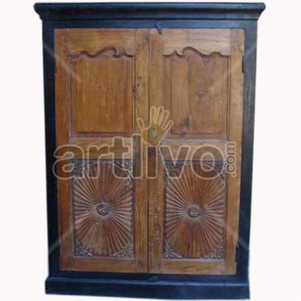 Restored Chiselled aristocratic Solid Wooden Teak Almirah