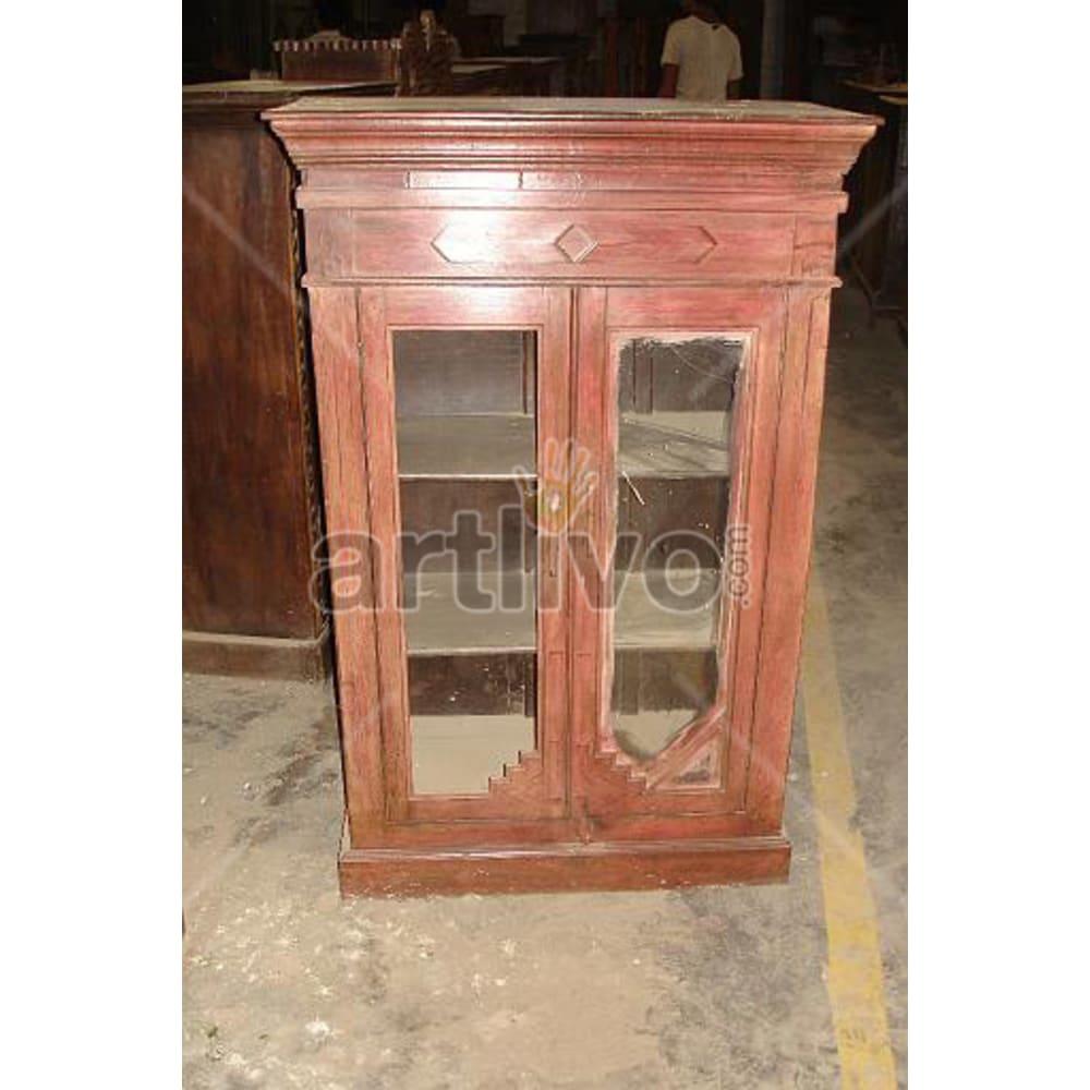 Restored Engraved Ostentatious Solid Wooden Teak Almirah