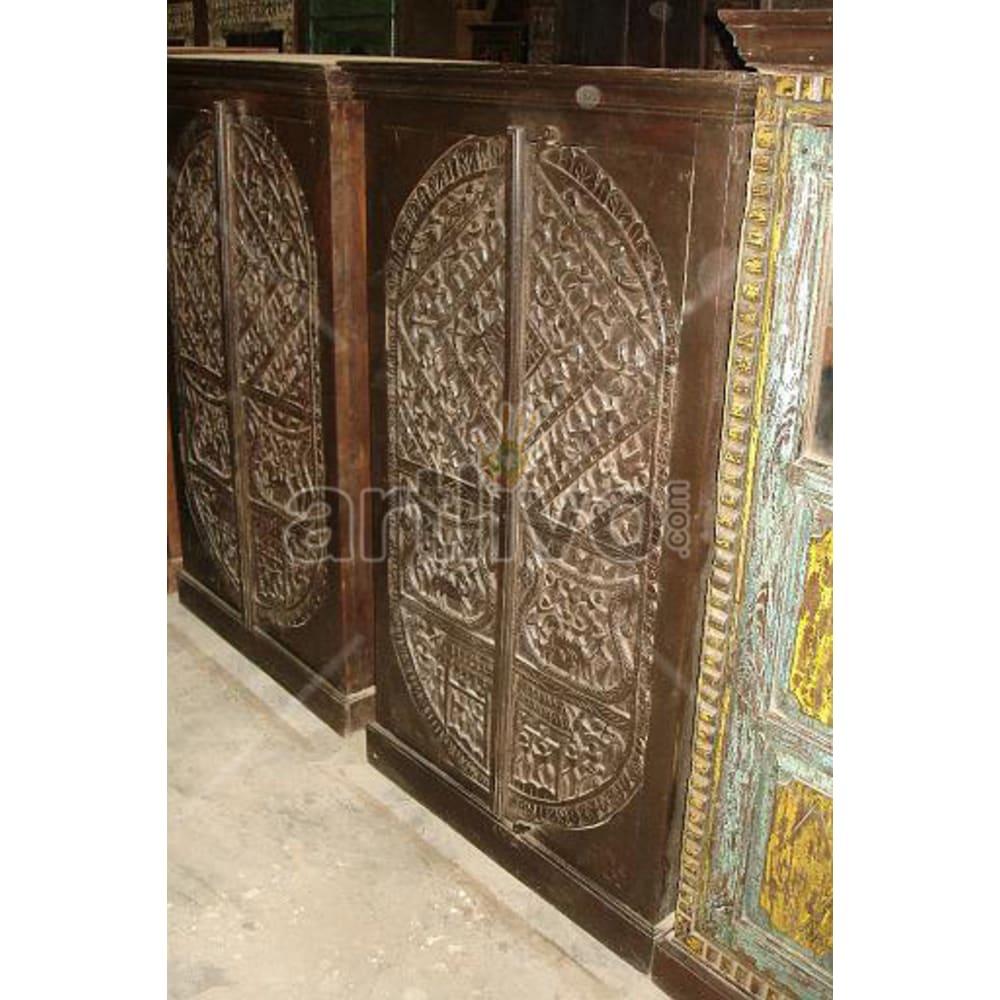 Restored Engraved Superb Solid Wooden Teak Almirah