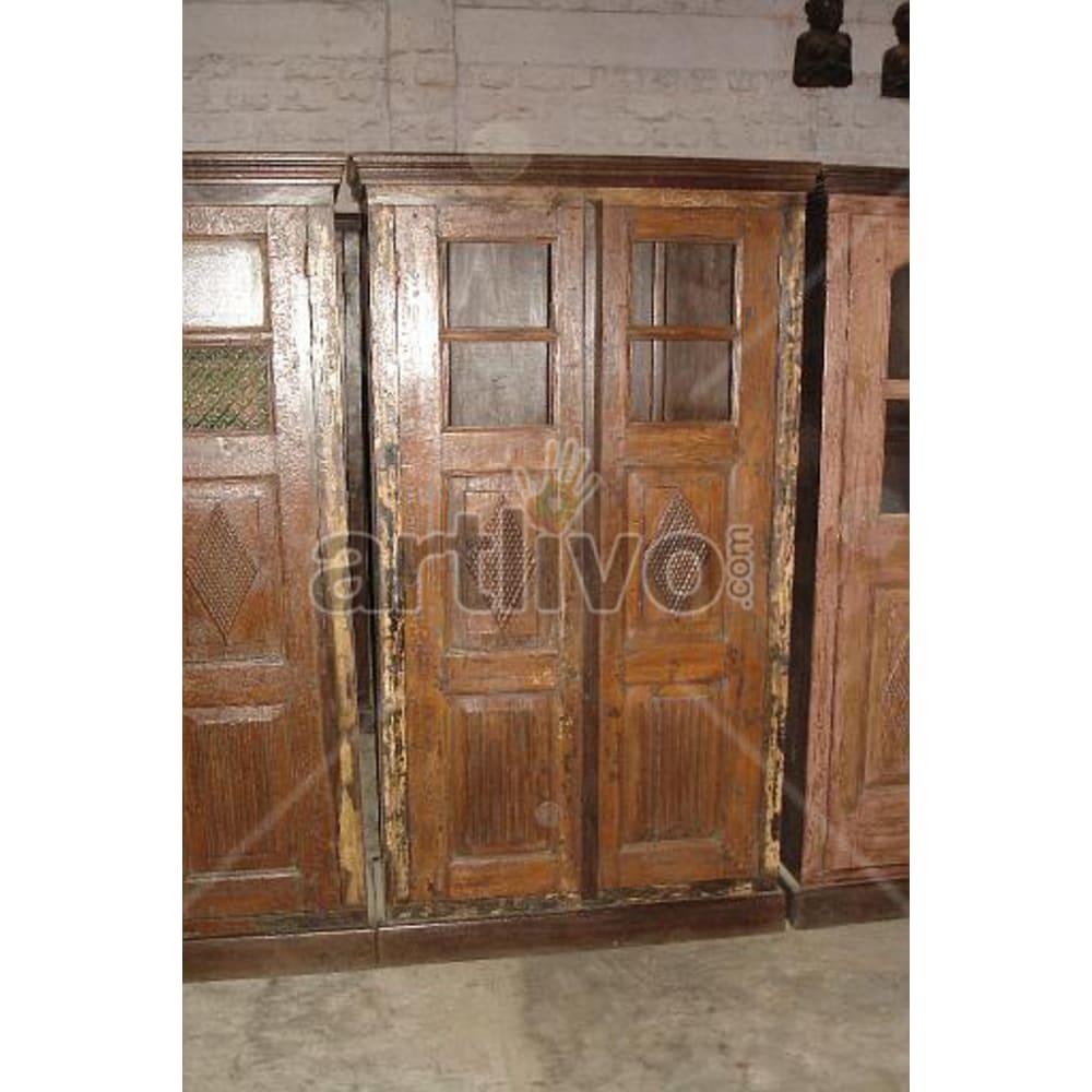 Restored Sculpted Palatial Solid Wooden Teak Almirah