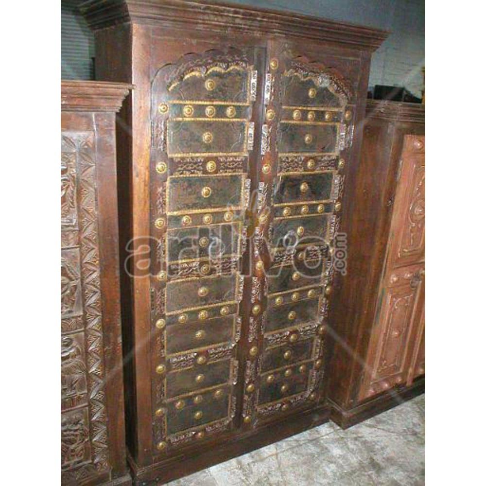 Restored Beautiful Unique Solid Wooden Teak Almirah
