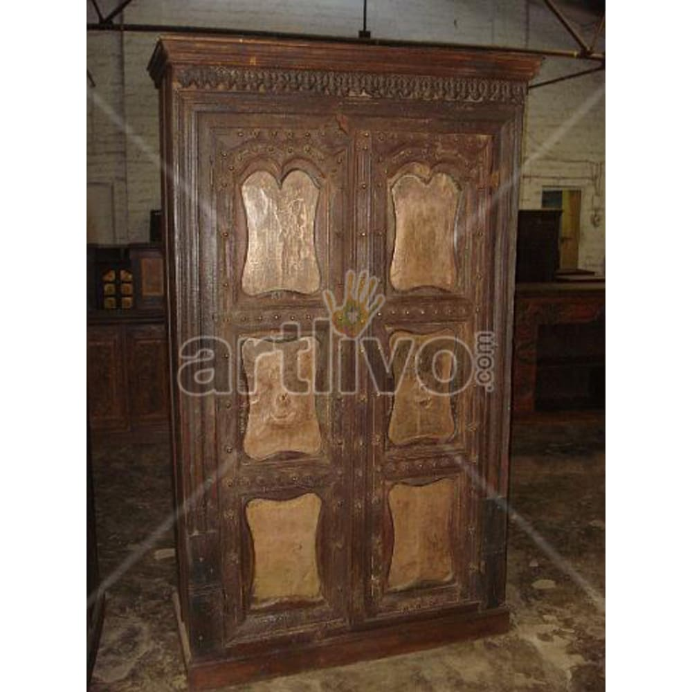 Restored Brown Plush Solid Wooden Teak Almirah