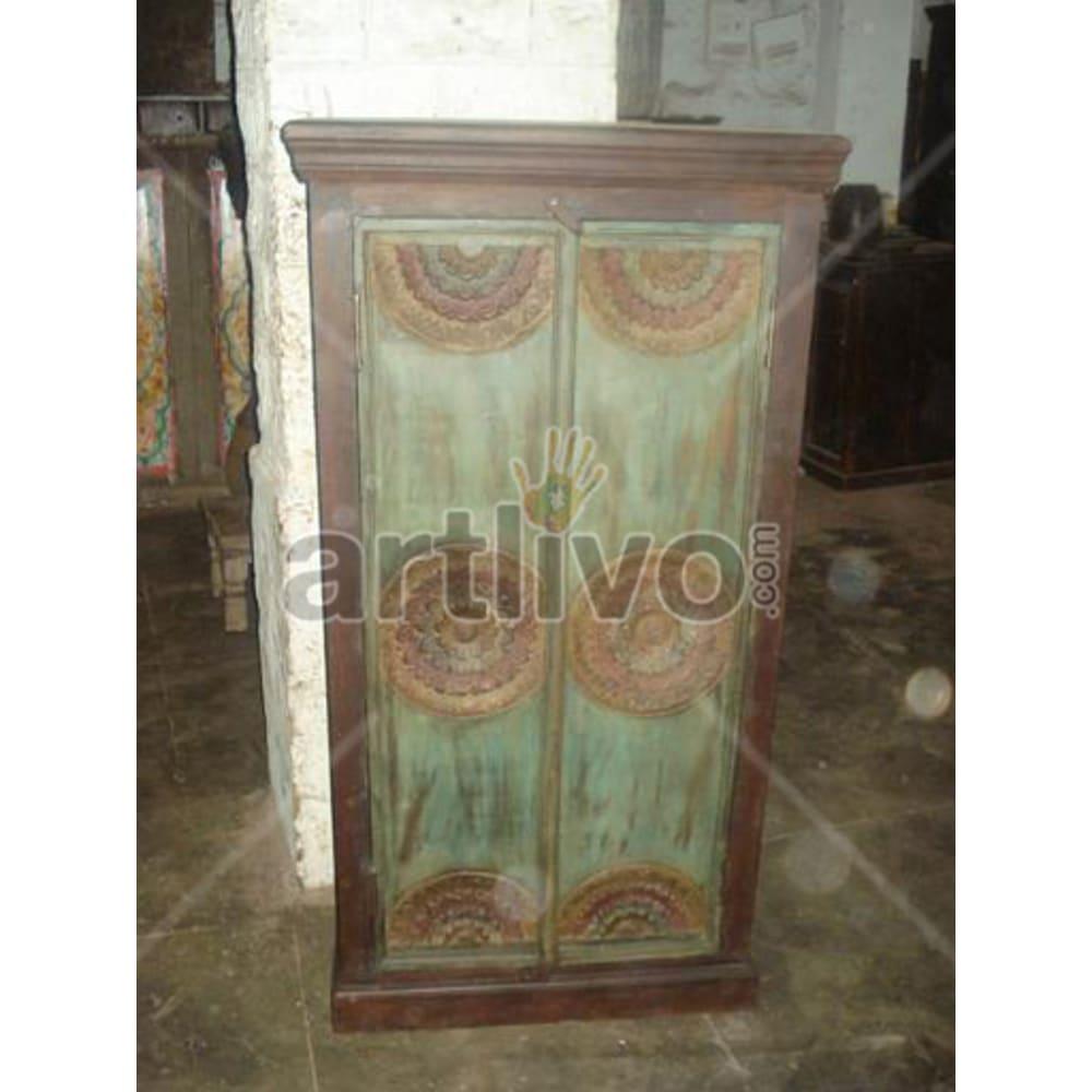 Restored Brown stately Solid Wooden Teak Almirah