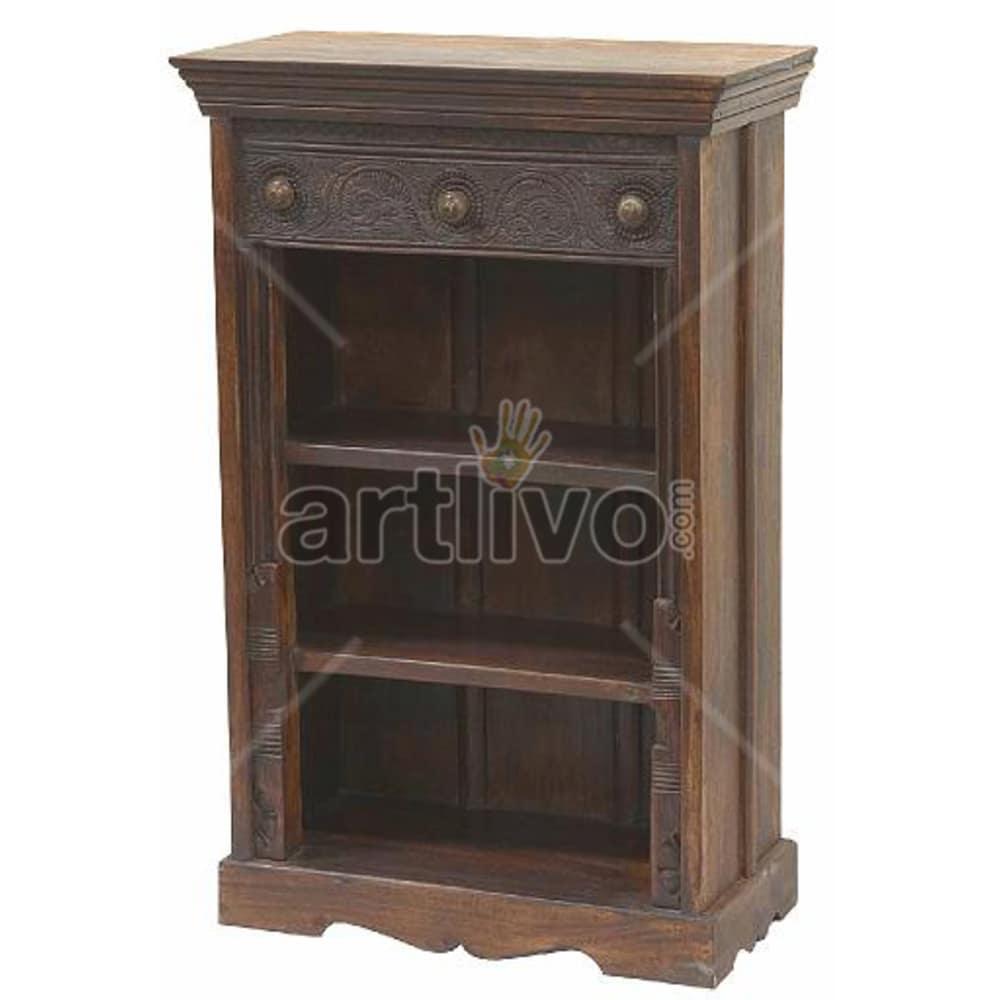Vintage Indian Brown Opulent Solid Wooden Teak Bookshelf