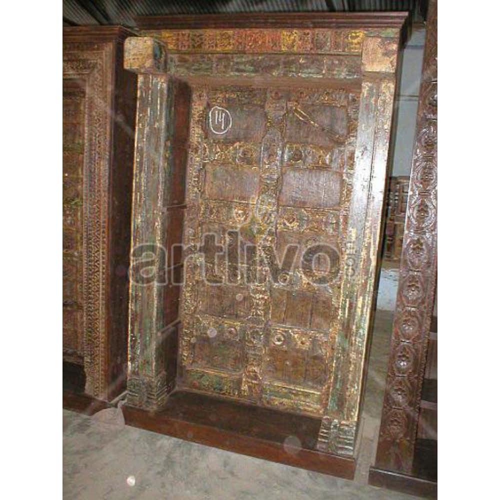 Vintage Indian Chiselled Illustrious Solid Wooden Teak Bookshelf
