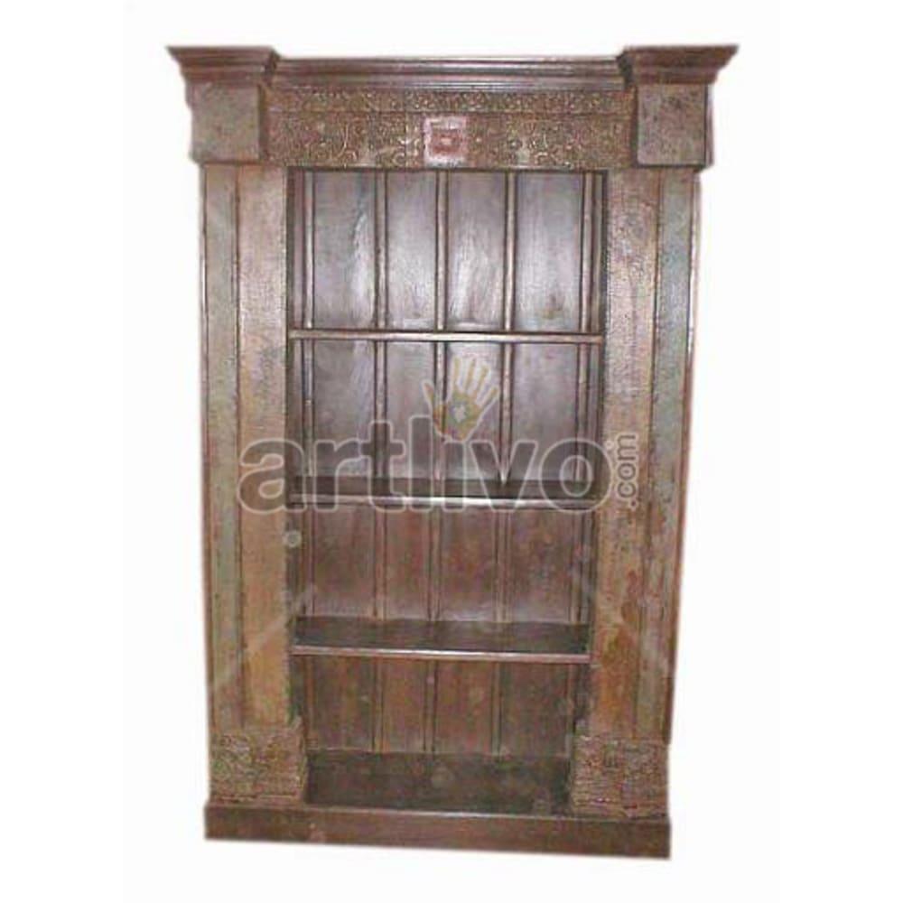 Vintage Indian Sculpted Royal Solid Wooden Teak Bookshelf
