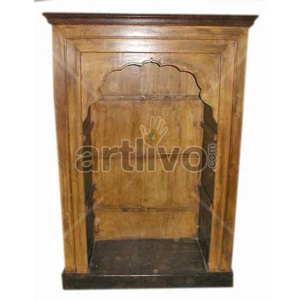 Vintage Indian Sculptured Superb Solid Wooden Teak Bookshelf