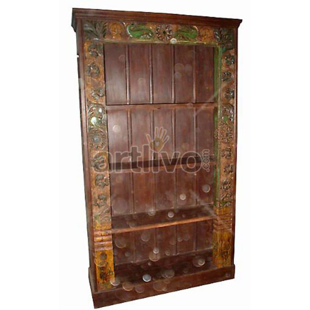 Antique Indian Carved Opulent Solid Wooden Teak Bookshelf