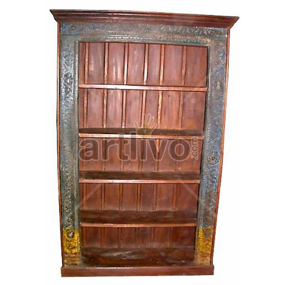 Antique Indian Carved Plush Solid Wooden Teak Bookshelf