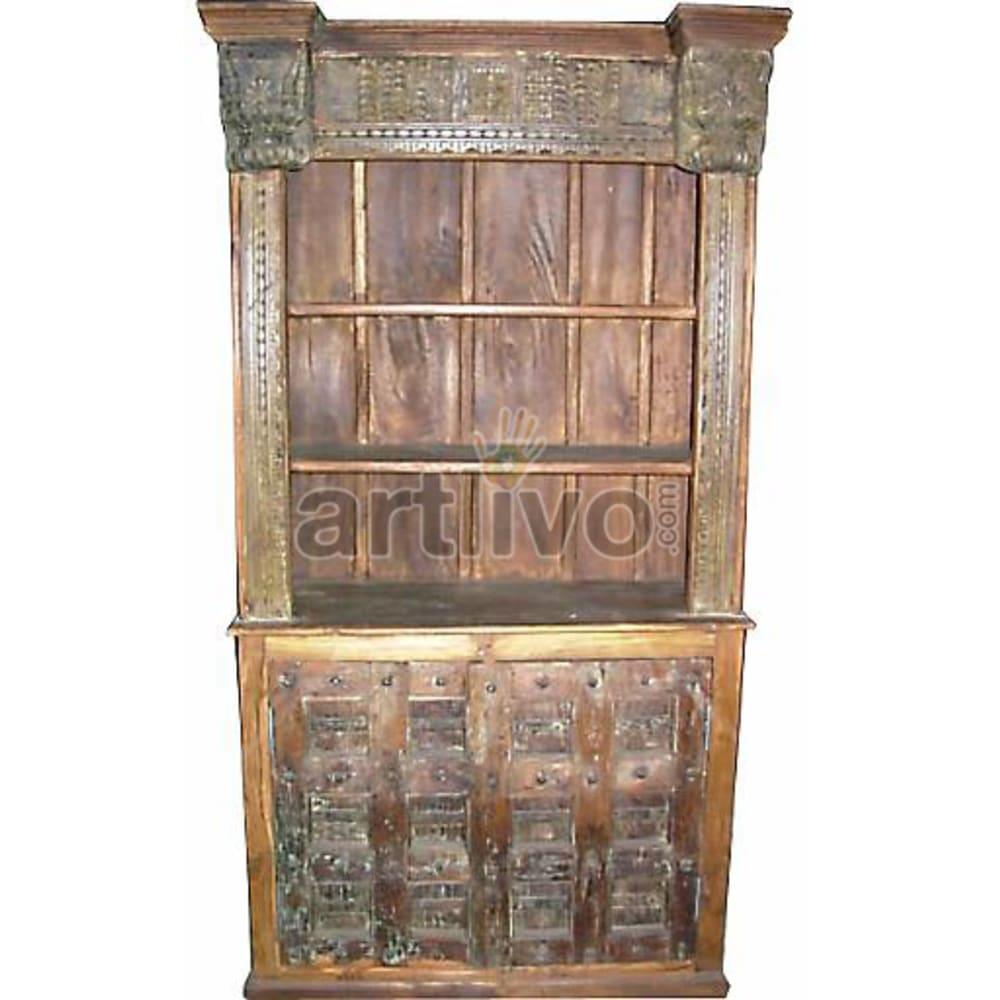 Antique Indian Carved Illustrious Solid Wooden Teak Bookshelf