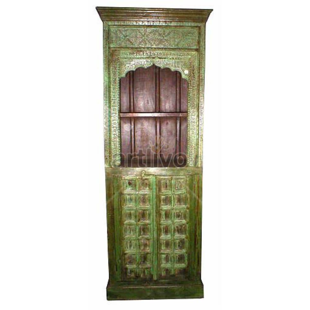 Antique Indian Carved Noble Solid Wooden Teak Bookshelf