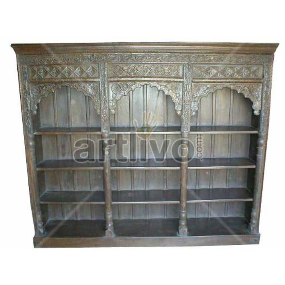 Antique Indian Carved Splendid Solid Wooden Teak Bookshelf
