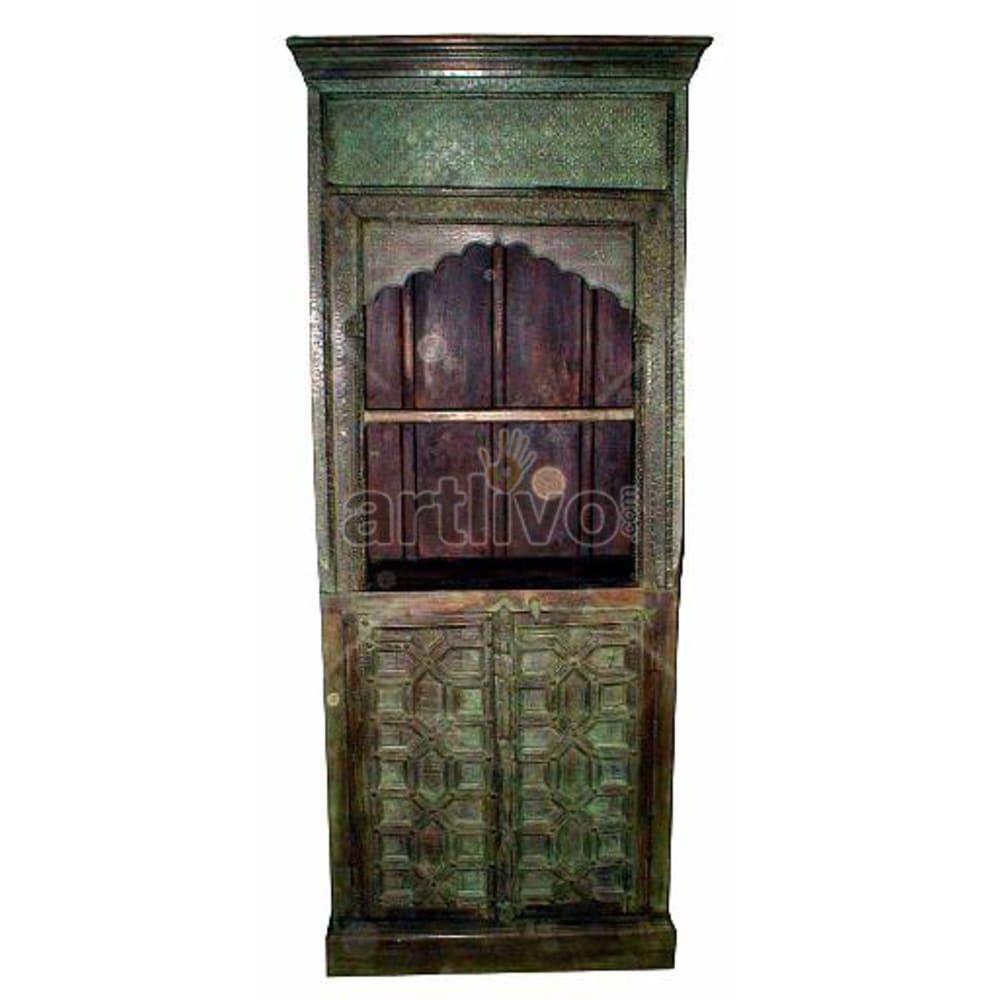 Antique Indian Carved Superb Solid Wooden Teak Bookshelf