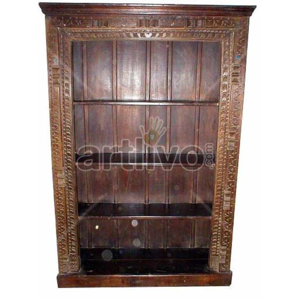 Antique Indian Carved Marvellous Solid Wooden Teak Bookshelf
