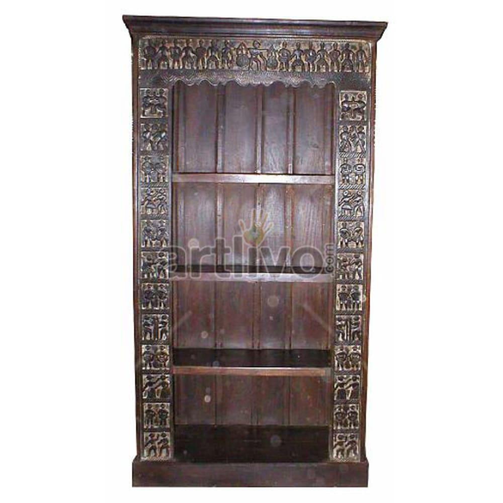 Antique Indian Brown Royal Solid Wooden Teak Bookshelf