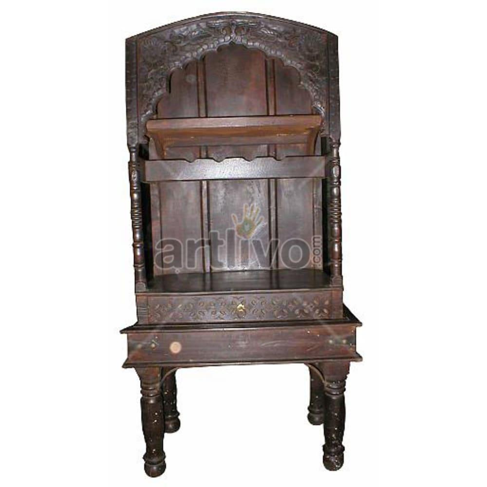 Antique Indian Brown Noble Solid Wooden Teak Bookshelf