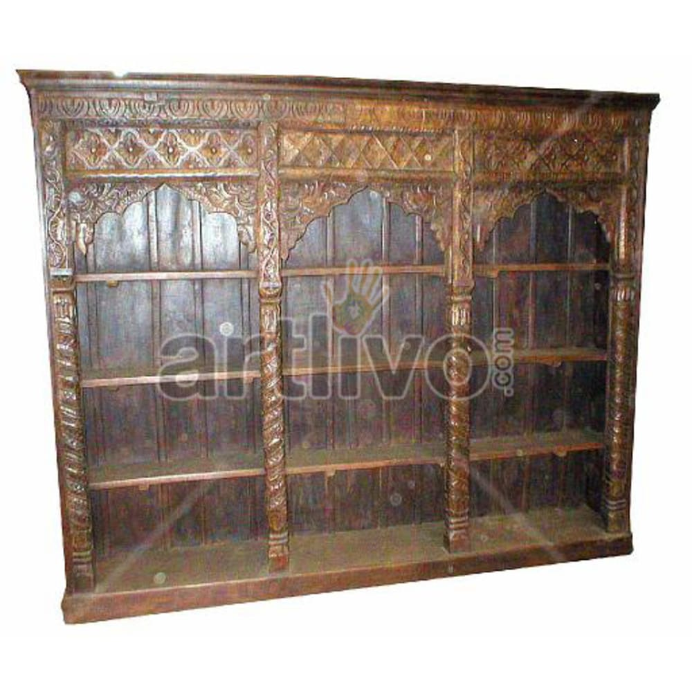 Antique Indian Chiselled Deluxe Solid Wooden Teak Bookshelf