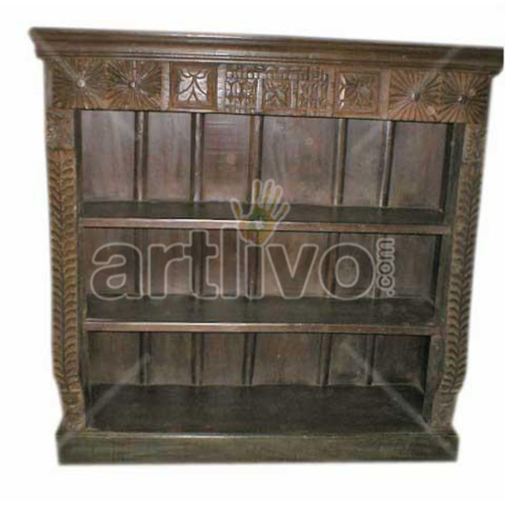 Antique Indian Sculpted Illustrious Solid Wooden Teak Bookshelf