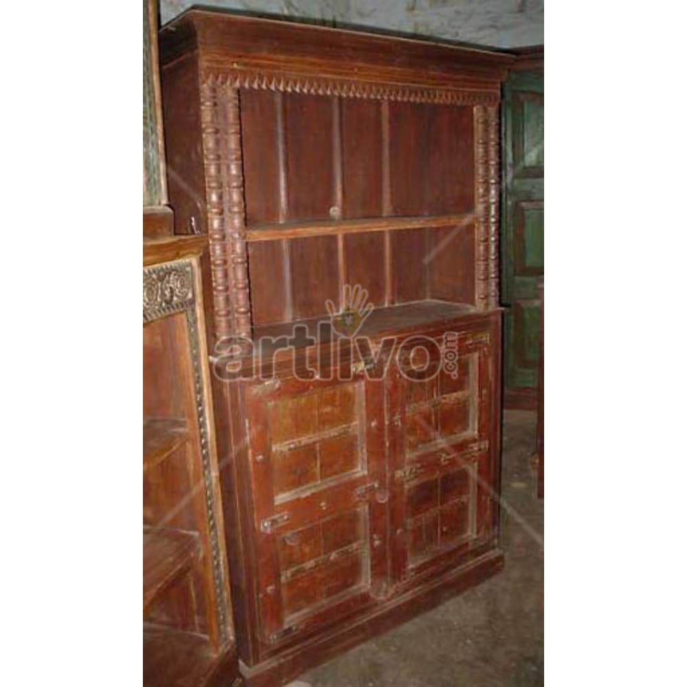 Antique Indian Sculptured Illustrious Solid Wooden Teak Bookshelf