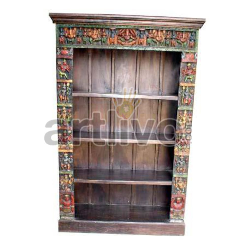 Antique Indian Sculptured Marvellous Solid Wooden Teak Bookshelf