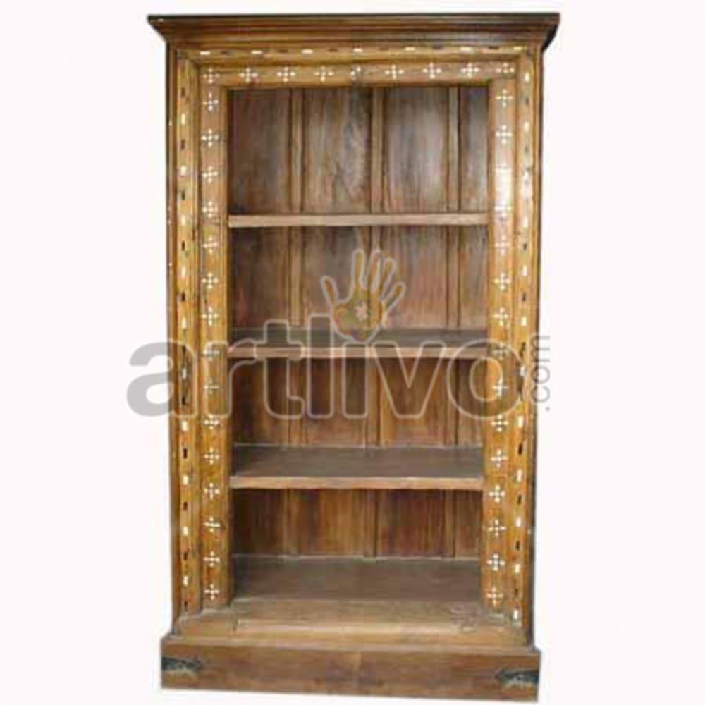 Antique Indian Beautiful Opulent Solid Wooden Teak Bookshelf
