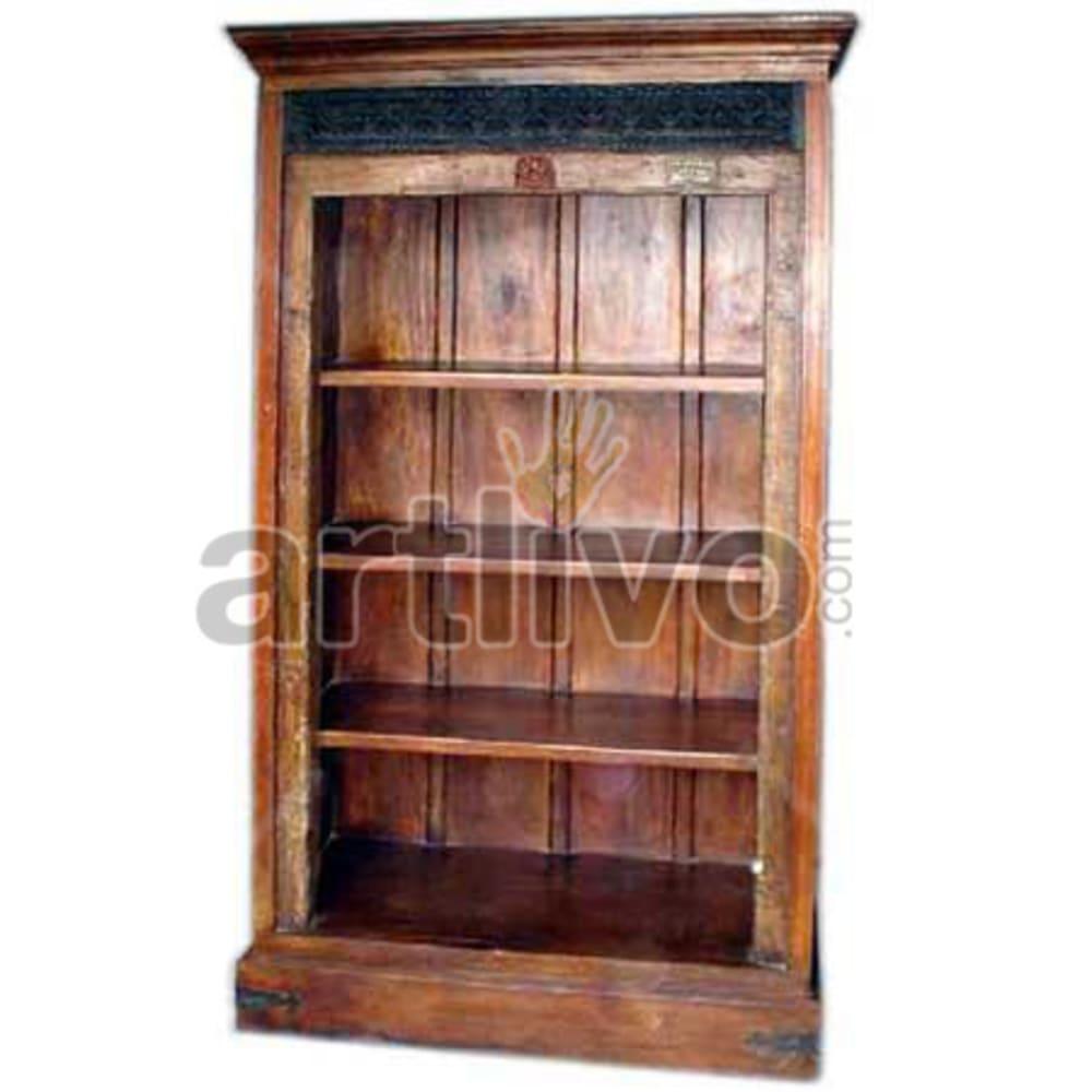 Antique Indian Beautiful Deluxe Solid Wooden Teak Bookshelf