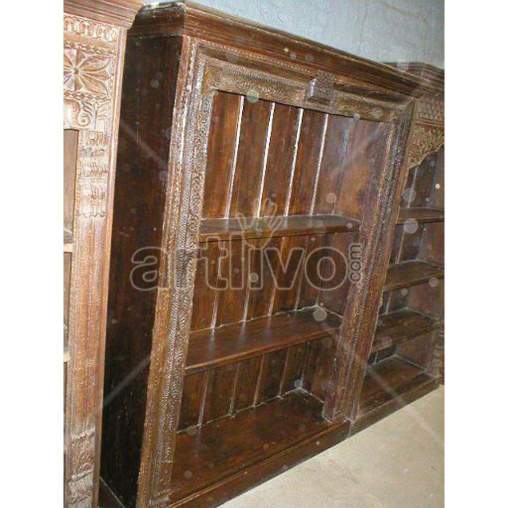Antique Indian Beautiful Royal Solid Wooden Teak Bookshelf