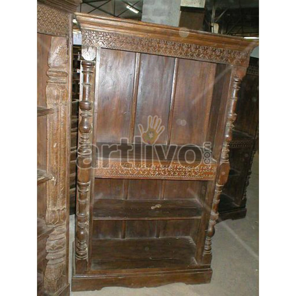 Antique Indian Beautiful Magnificent Solid Wooden Teak Bookshelf