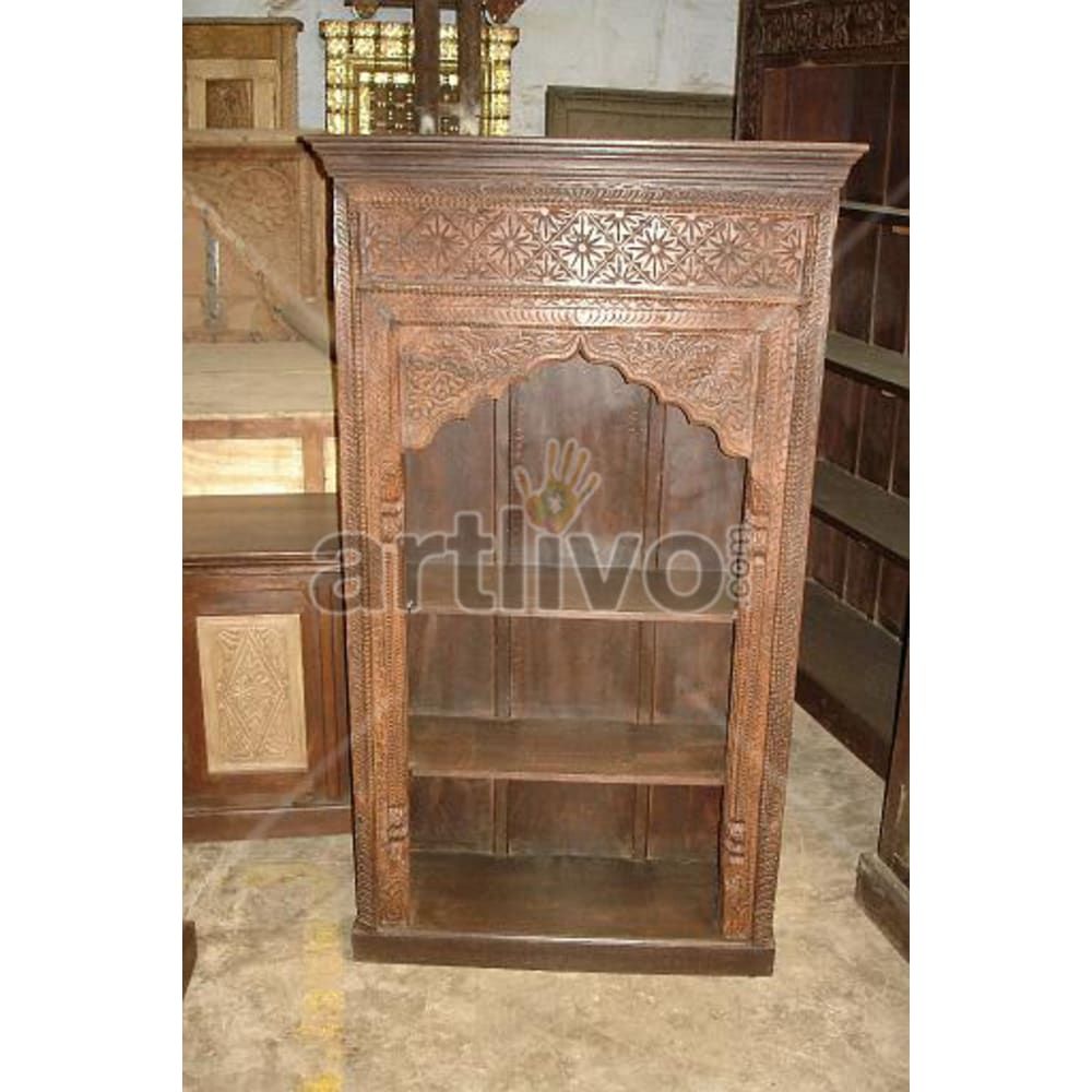 Old Indian Carved Extravagant Solid Wooden Teak Bookshelf