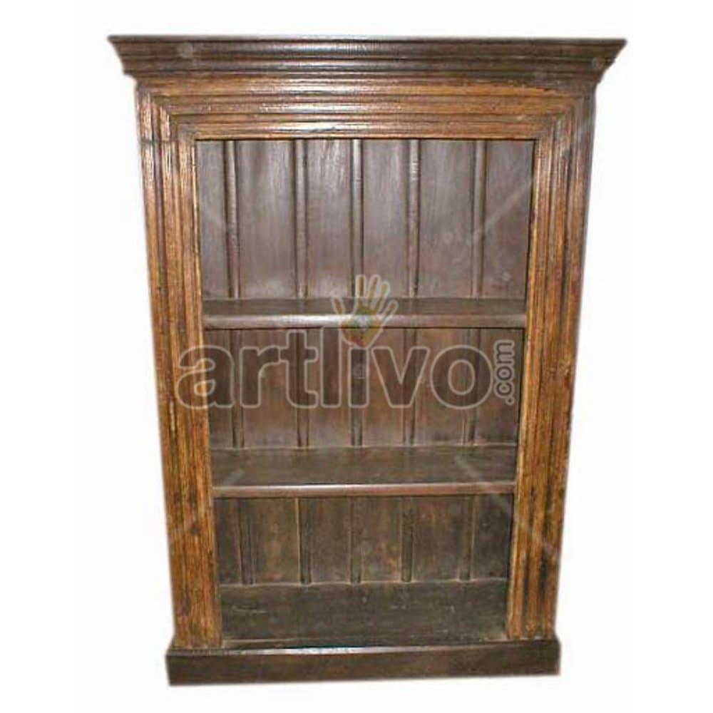 Old Indian Carved Superb Solid Wooden Teak Bookshelf