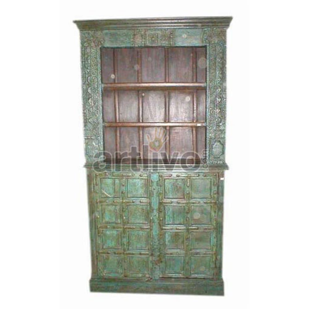 Old Indian Brown Palatial Solid Wooden Teak Bookshelf