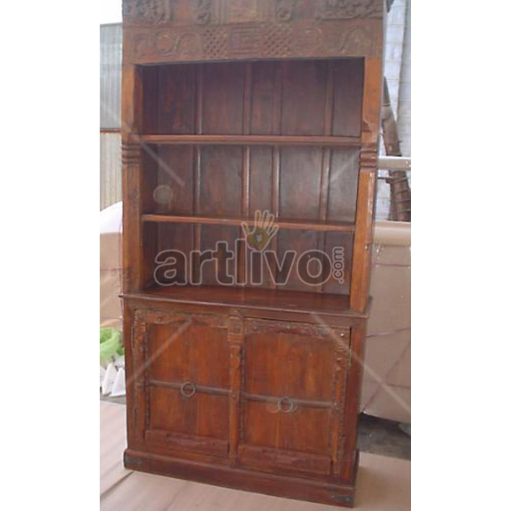 Old Indian Brown Imperial Solid Wooden Teak Bookshelf