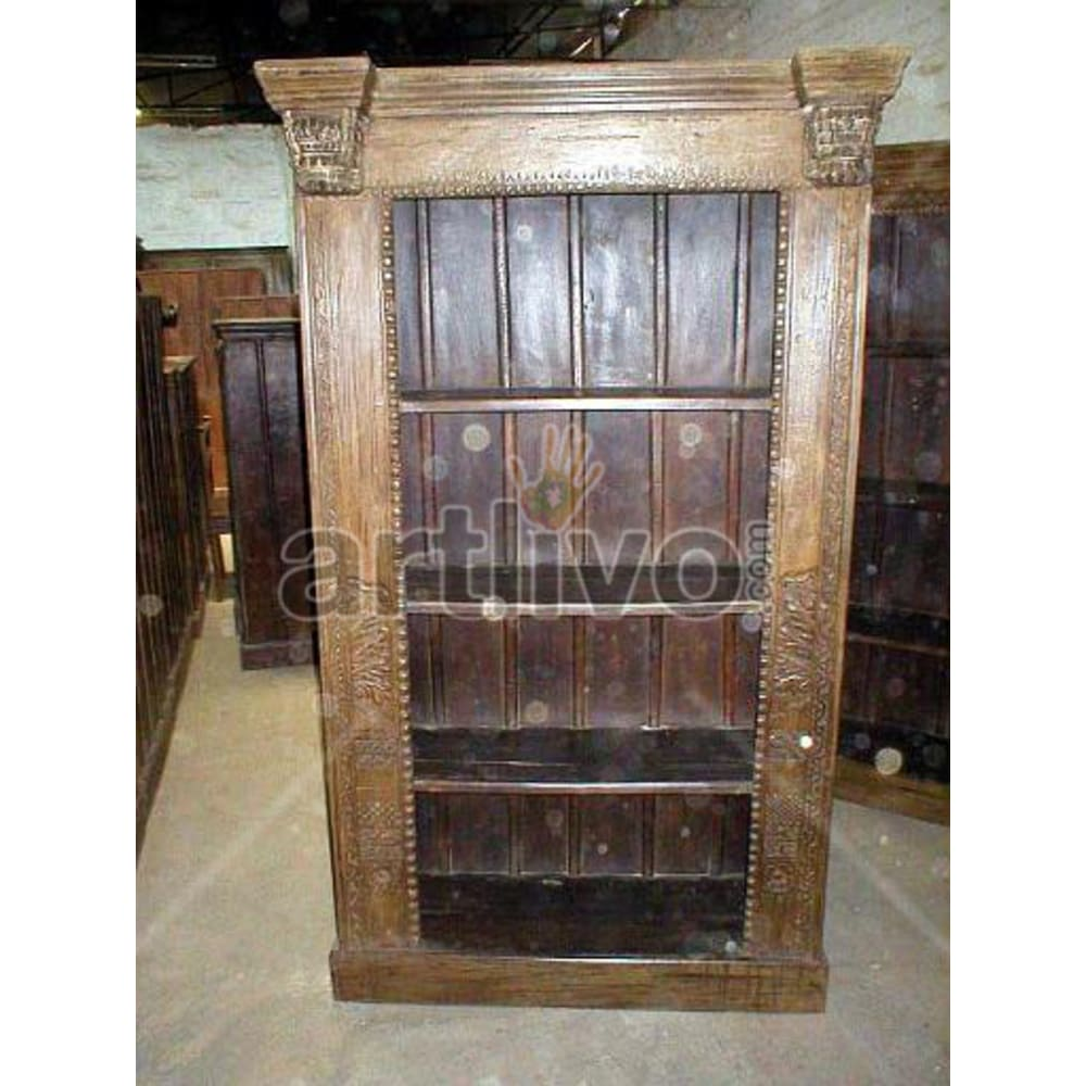 Old Indian Brown Supreme Solid Wooden Teak Bookshelf