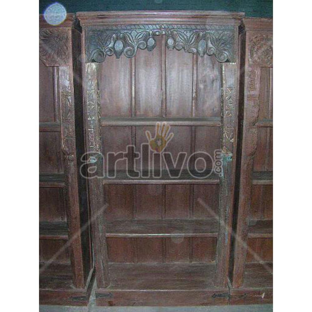 Old Indian Chiselled Aristocratic Solid Wooden Teak Bookshelf