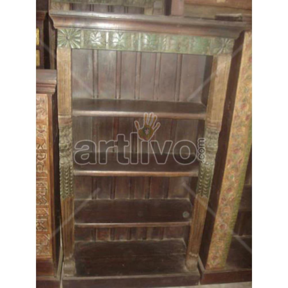 Old Indian Chiselled Stately Solid Wooden Teak Bookshelf