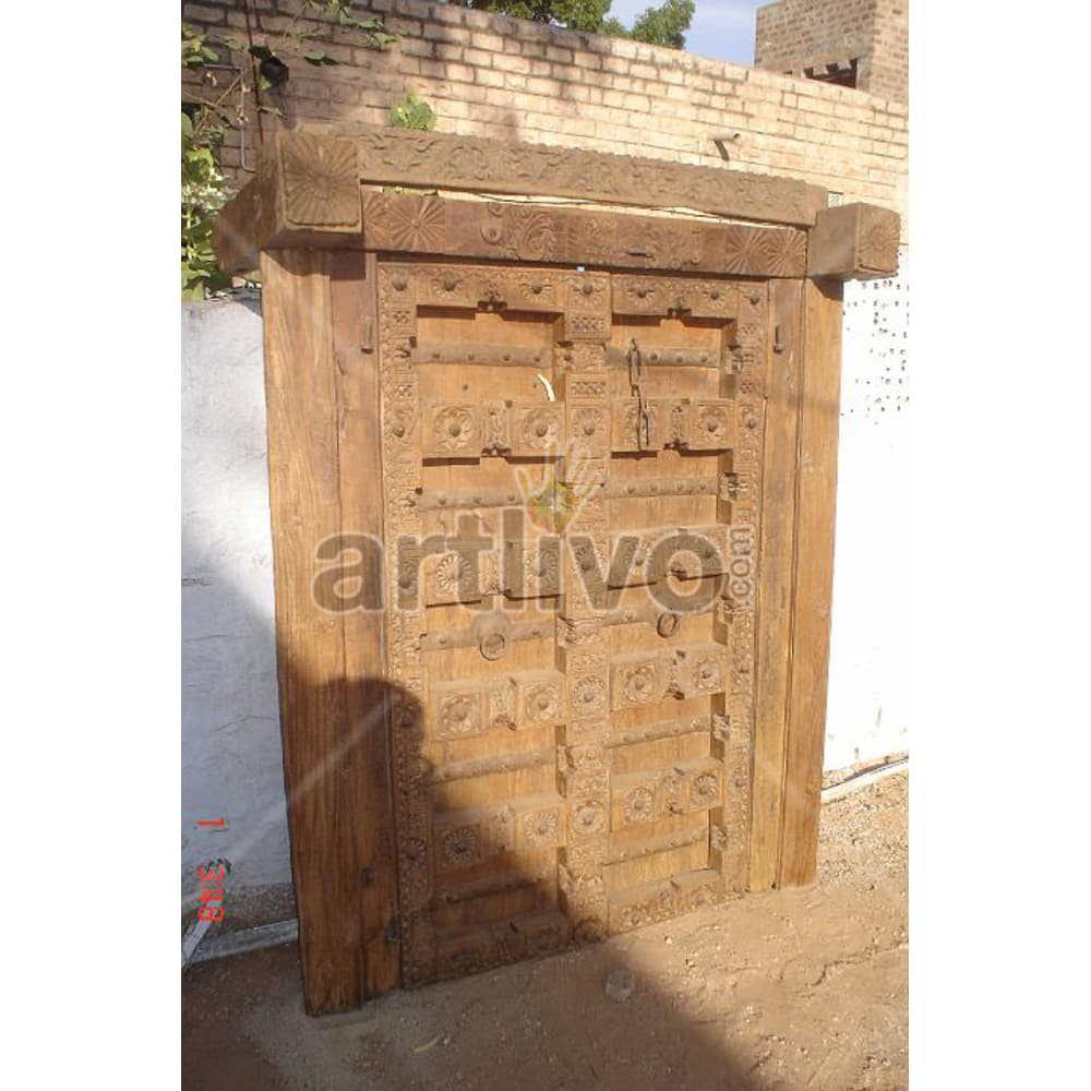 Vintage Indian Carved Imperial Solid Wooden Teak Door