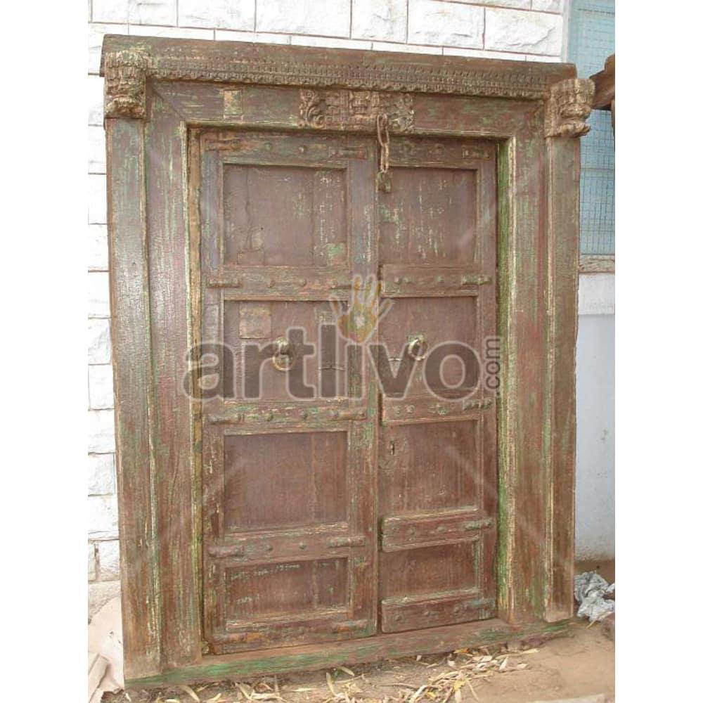 Vintage Indian Brown Noble Solid Wooden Teak Door