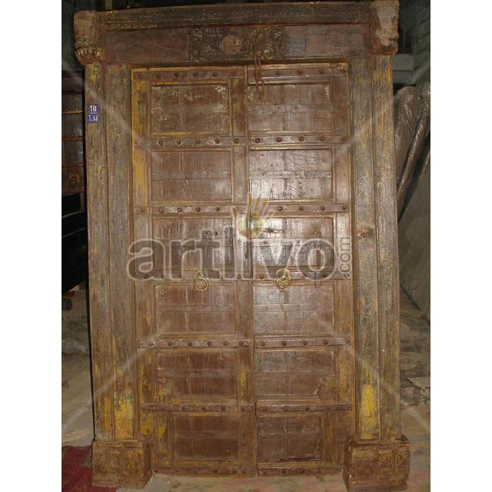 Vintage Indian Brown Stately Solid Wooden Teak Door