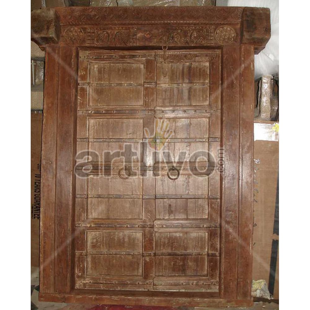 Vintage Indian Brown Superb Solid Wooden Teak Door