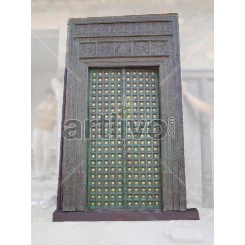 Vintage Indian Chiselled Aristocratic Solid Wooden Teak Door