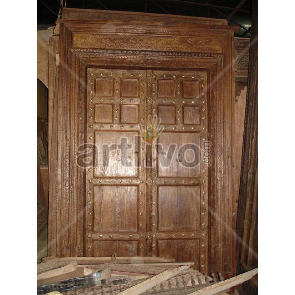Vintage Indian Chiselled Supreme Solid Wooden Teak Door