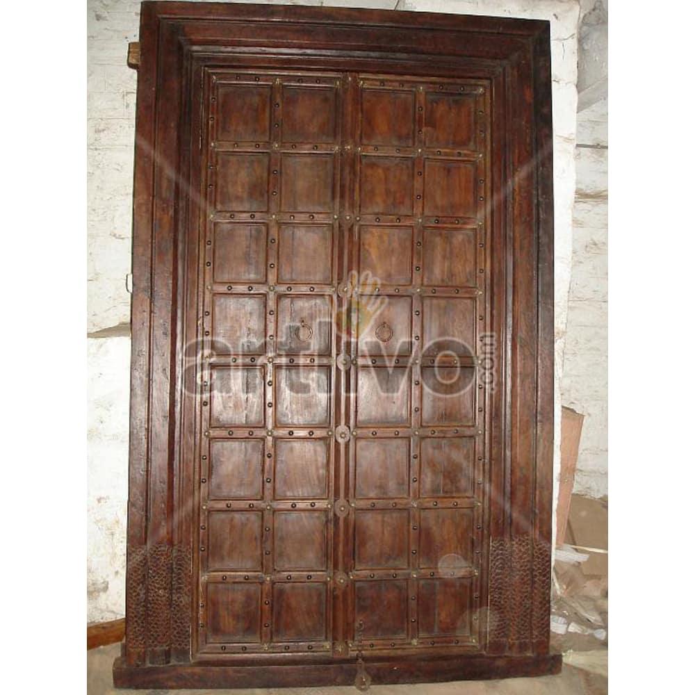 Vintage Indian Engraved Illustrious Solid Wooden Teak Door