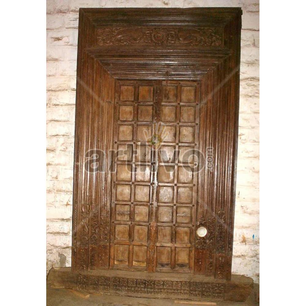 Vintage Indian Engraved Splendid Solid Wooden Teak Door