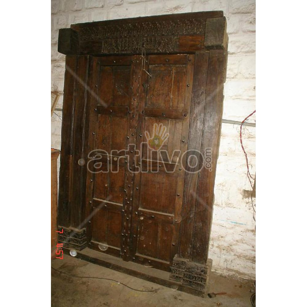 Vintage Indian Sculpted Imperial Solid Wooden Teak Door