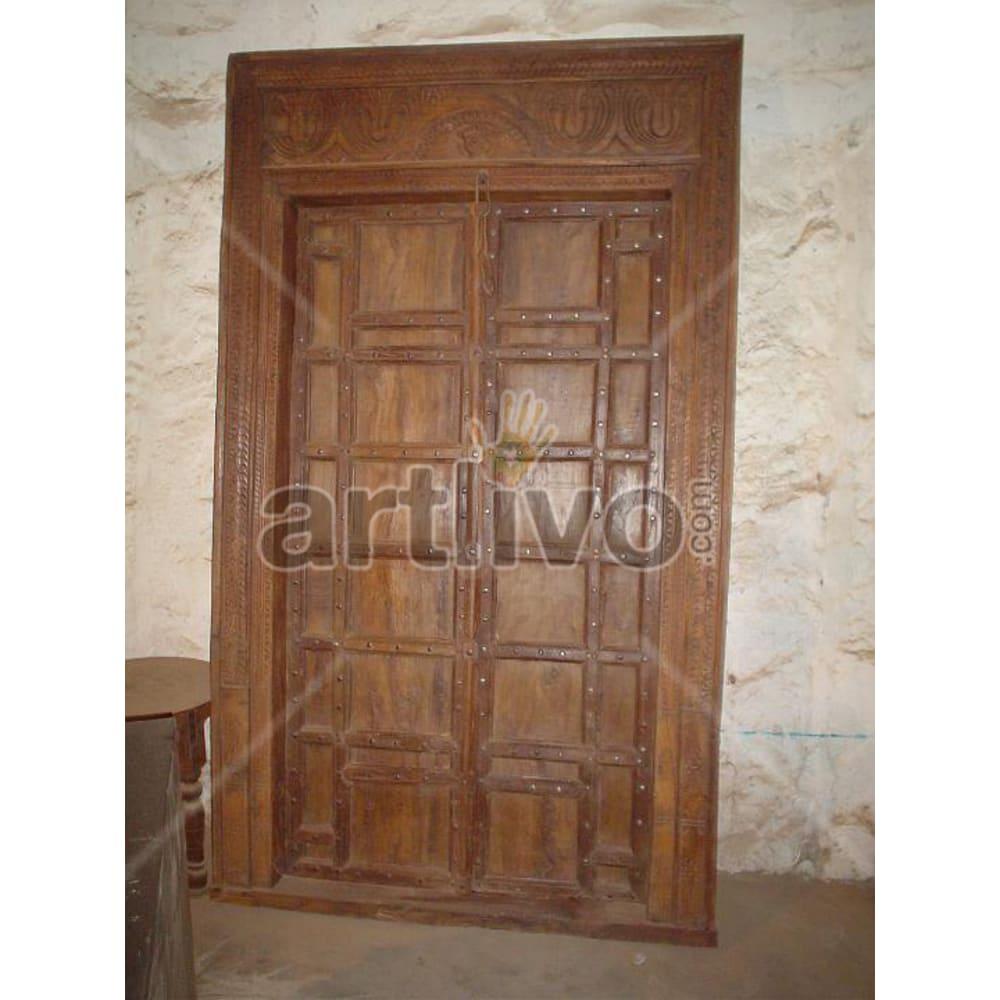 Vintage Indian Sculptured Palatial Solid Wooden Teak Door